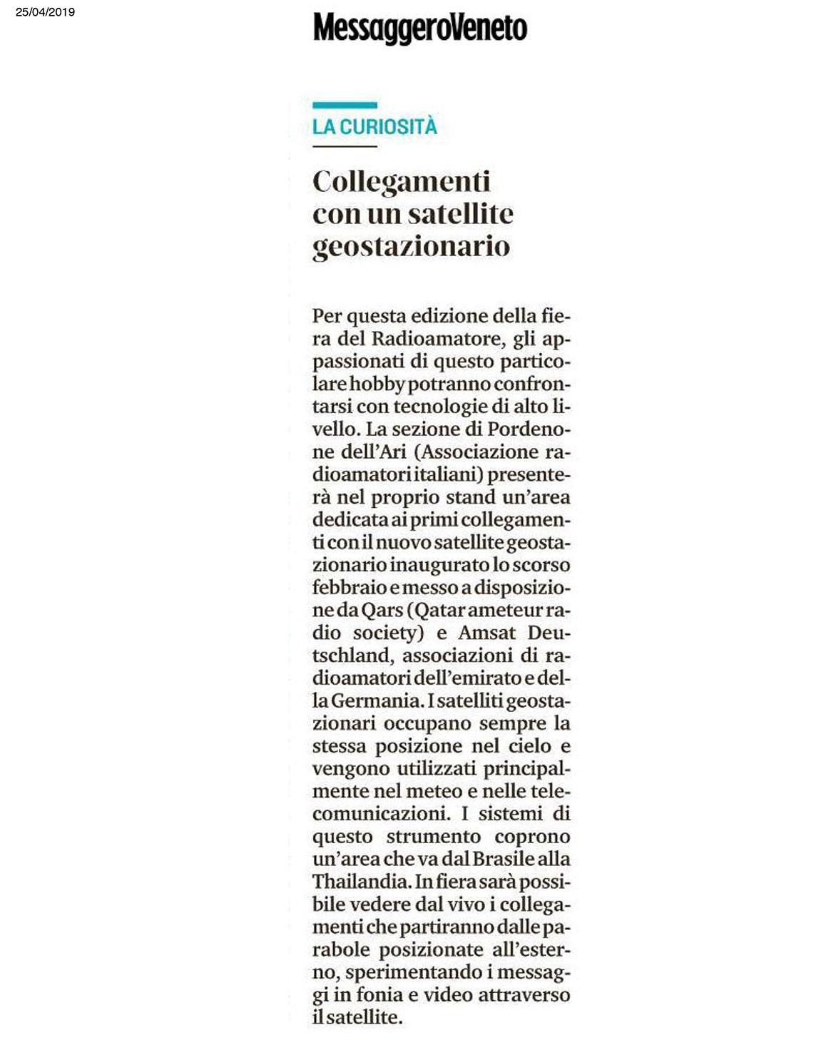 Messaggero 25042019b Rassegna Stampa Radioamatore Fiera 2019