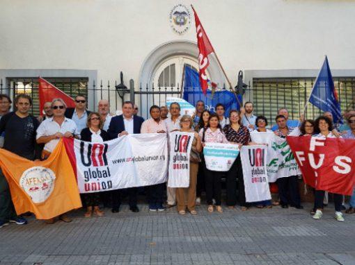 Cuatro sindicatos uruguayos reunidos por Uni Américas en solidaridad con trabajadores de Colombia