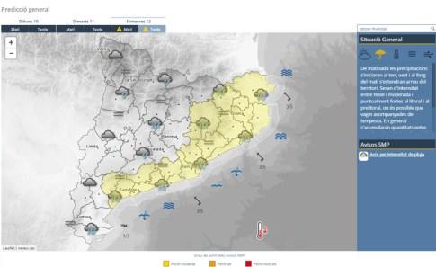 Mapa amb la previsió per al proper dimecres 12