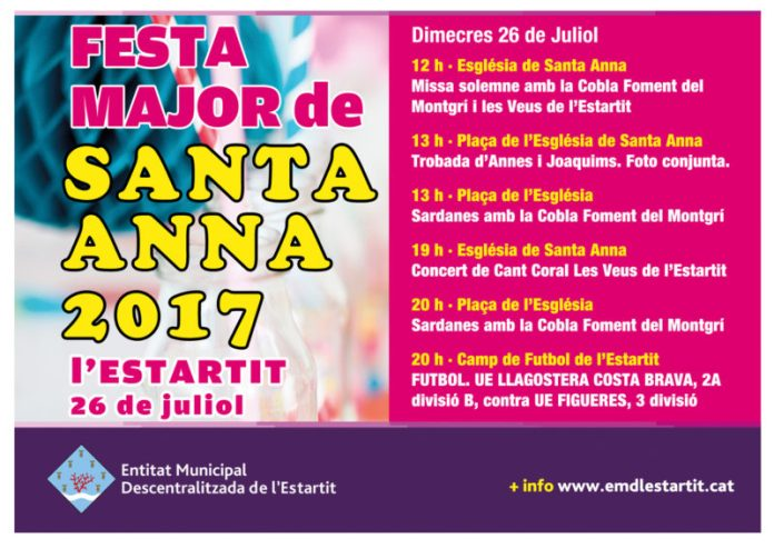 Cartell de la Festa Major de Santa Anna de l'Estartit | 2017