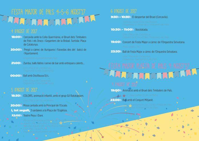 Informació Cartell Festa Major de Pals 2017 Agost