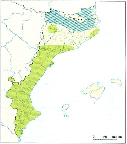 Àrea de distribució de la serp de ferradura (C. hippocrepis, en verd) als Països Catalans.