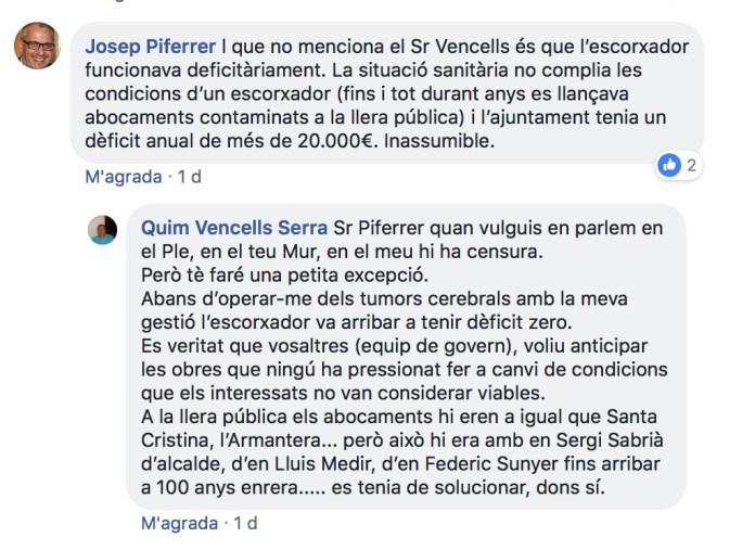 Captura de pantalla del comentari de Josep Piferrer i Quim Vencells