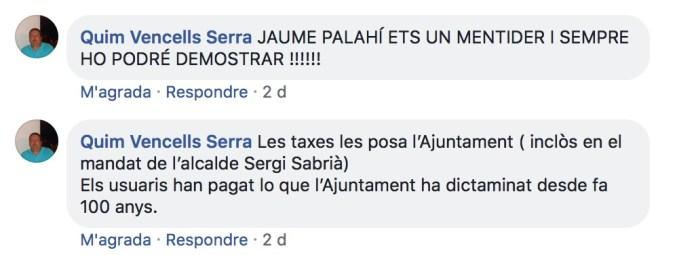 Captura de pantalla del comentari, ja esborrat, de Quim Vencells al seu Facebook