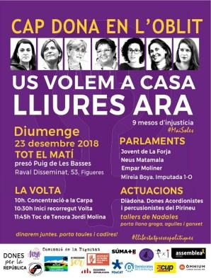 Cartell de l'acció d'aquest diumenge 23 de desembre a la presó del Puig de les Basses