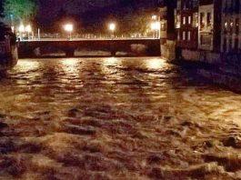 El Riu Daró durant les fortes tempestes al Baix Empordà