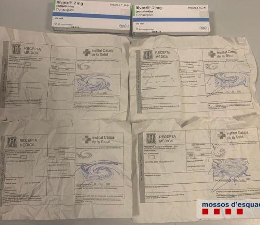 Receptes mèdiques i medicament comissat pels Mossos d'Esquadra | Imatge dels Mossos d'Esquadra