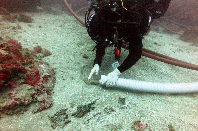 Pla mig d'un arqueòleg destapant les restes del vaixell del segle I aC que s'ha descobert a les illes Formigues. Imatge cedida el 18 de novembre del 2020 (Horitzontal)