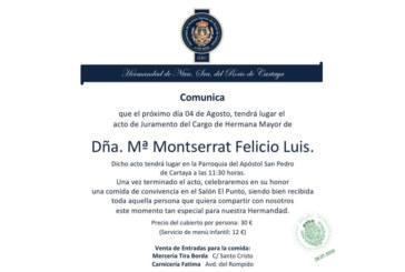 Montserrat Felicio tomara juramento al Cargo de Hermana Mayor el próximo 4 de agosto