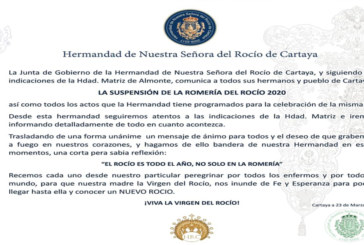 La Hermandad del Rocío de Cartaya indica las pautas a seguir para todos los rocieros en estos días