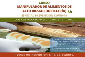 Desarrollo Local pone en marcha un Curso de Manipulador de Alimentos de Alto Riesgo para la hostelería ante el COVID-19
