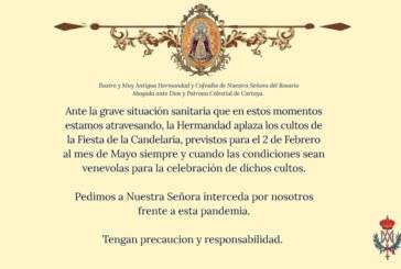 La Hdad. de Ntra. Sra. del Rosario de Cartaya aplaza los cultos de la Fiesta de la Candelaria