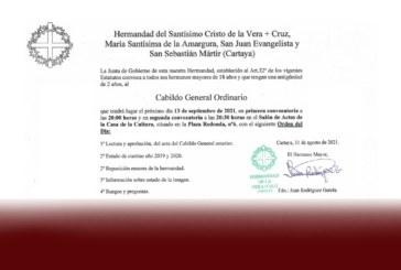 De Buena Mañana | La Hdad. de Vera Cruz de Cartaya convoca a sus hermanos a un Cabildo