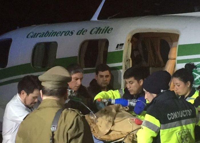 Quellón: se realizó evacuación aeromédica de menor que sufrió grave accidente.