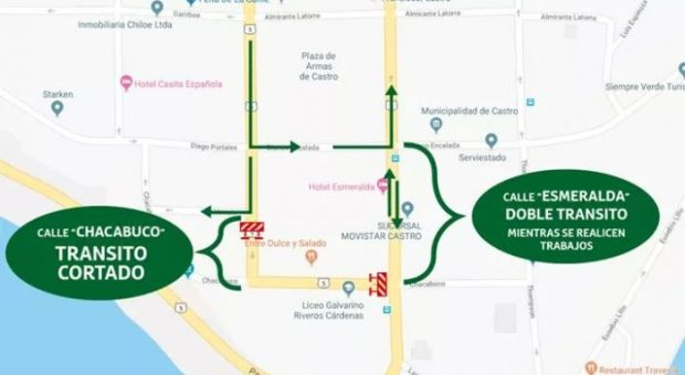 Castro: suspenden y desvían tránsito en calles céntricas de la ciudad.