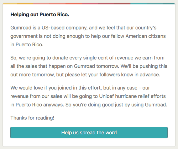 Helping out Puerto Rico - from Gumroad