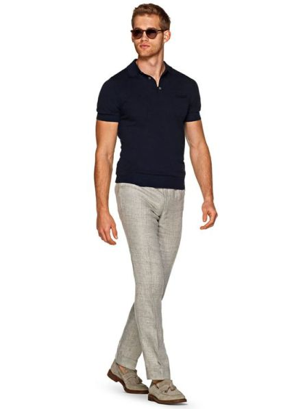 polo shirt and tailored pants