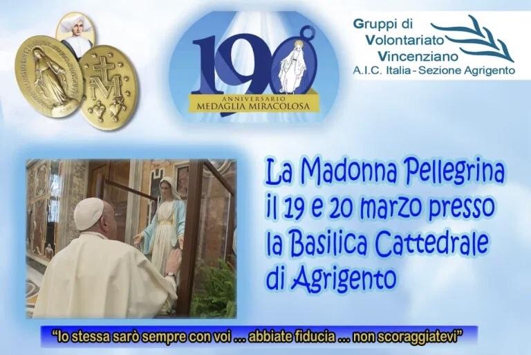 190° anniversario delle apparizioni a Santa Caterina Labourè: Ad Agrigento la Madonna Pellegrina.