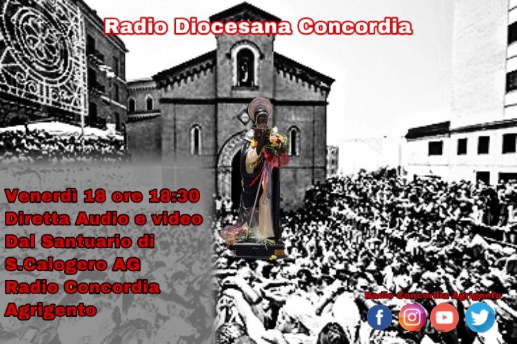 Venerdì 18 Giugno: In diretta dal Santuario di San Calogero in Agrigento