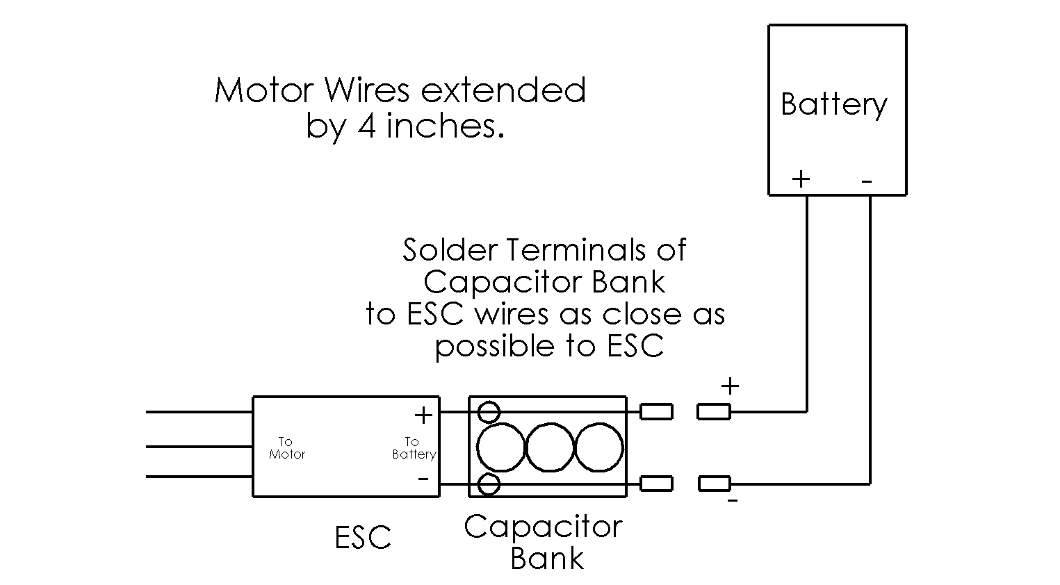hight resolution of how to solder capacitor bank to extend esc wires