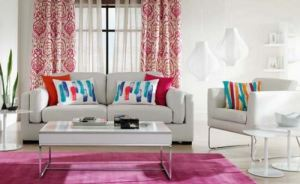 living modern colorat in alb roz si turcoaz