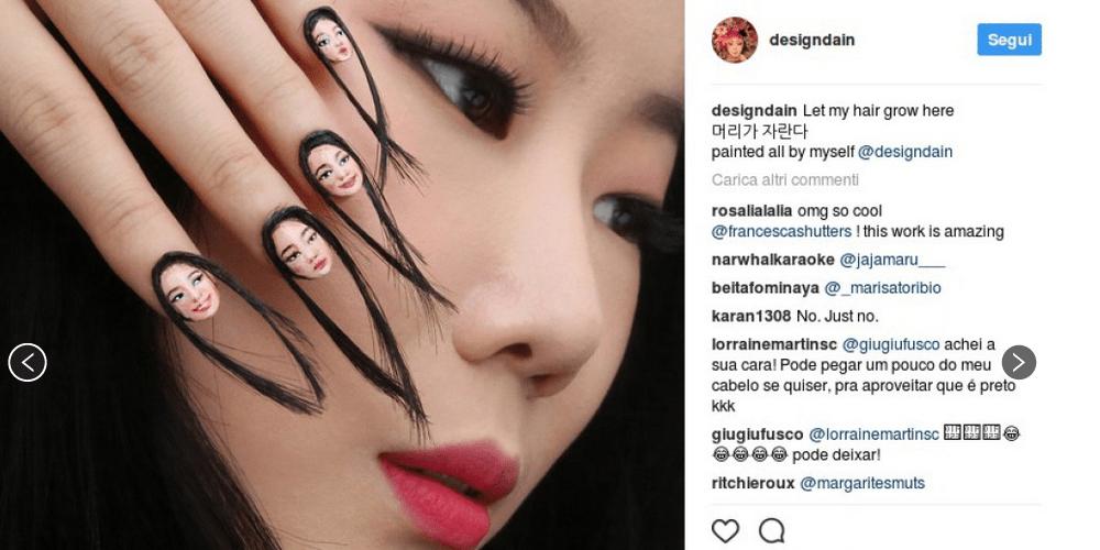 """Unghie con capelli: la nuova """"pazza idea"""" della nail art"""
