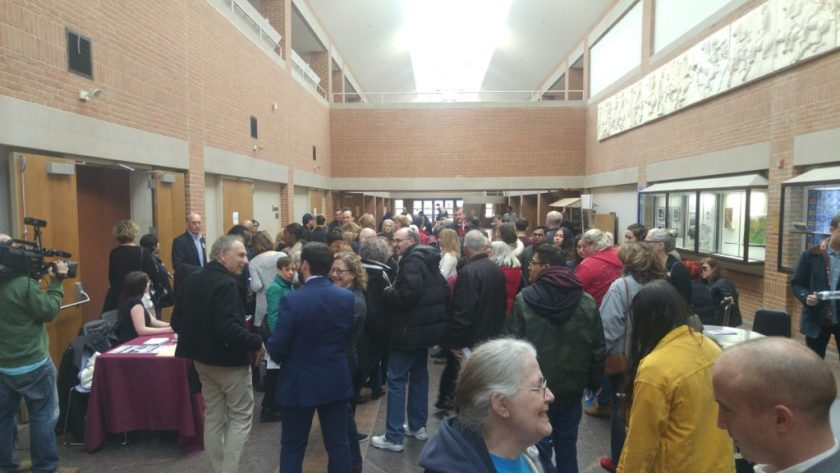 Neighbors gathering in the foyer before the Staten Island Town Hall For Our Lives