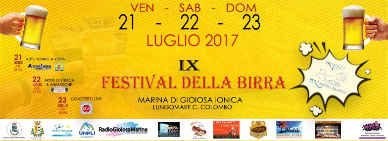 copertina IX festival della birra 2017 organizzato dalla pro loco per gioiosa marina a marina di gioiosa ionica