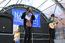 Harrow Town Centre Christmas Lights - Miles Otway introduces act