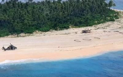 SOS Written in Sand Rescues Men Stranded on Island