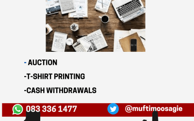 Business QnA: Auction/Cash Withdrawals/T-Shirt Printing  – Mufti Yusuf Moosagie