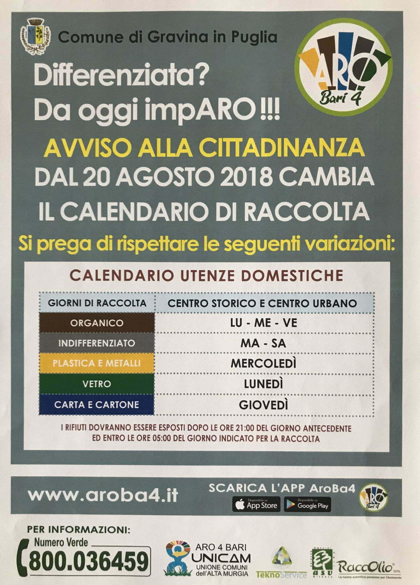 Calendario Raccolta Differenziata Sanremo.Gravina In Puglia Cambia Il Calendario Di Raccolta Dei