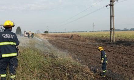 Se cortó un cable de Alta Tensión y generó el incendio de las cunetas de la ruta