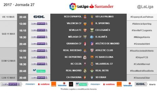 Horarios de la jornada 27 de LaLiga Santander 2016/17 radiomarcabcn