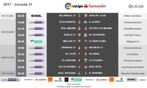 Horarios de la jornada 31 de LaLiga Santander 2016/17 radiomarcabcn
