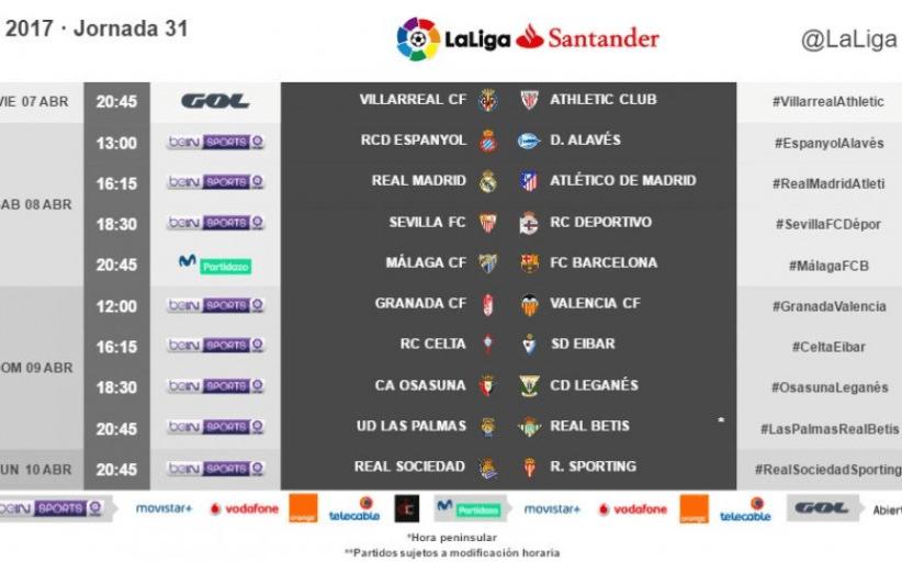 Horarios de la jornada 31 de LaLiga Santander 2016/17