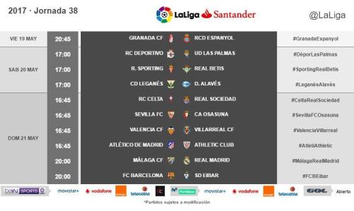 Horarios de la jornada 38 de LaLiga Santander 2016/17 radiomarcabcn