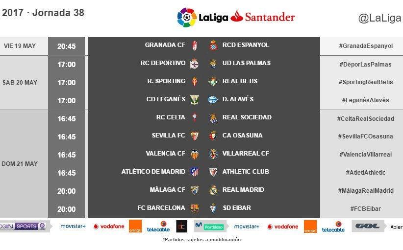 Horarios de la jornada 38 de LaLiga Santander 2016/17