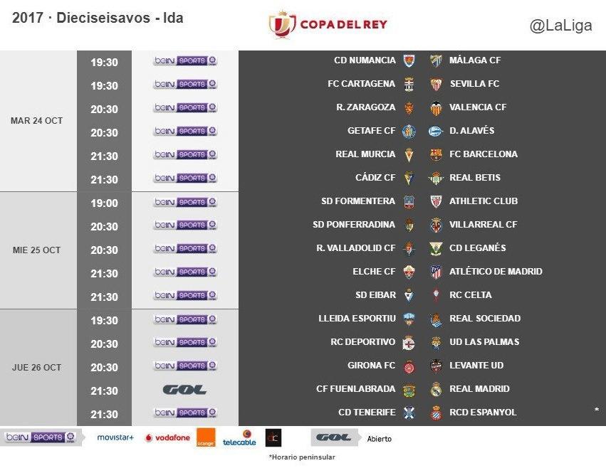 Ya se conocen los horarios de los 1/16 de final de la Copa del Rey