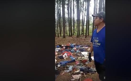 Coordenador do projeto Cidade Limpa denuncia roupas doadas jogadas na natureza