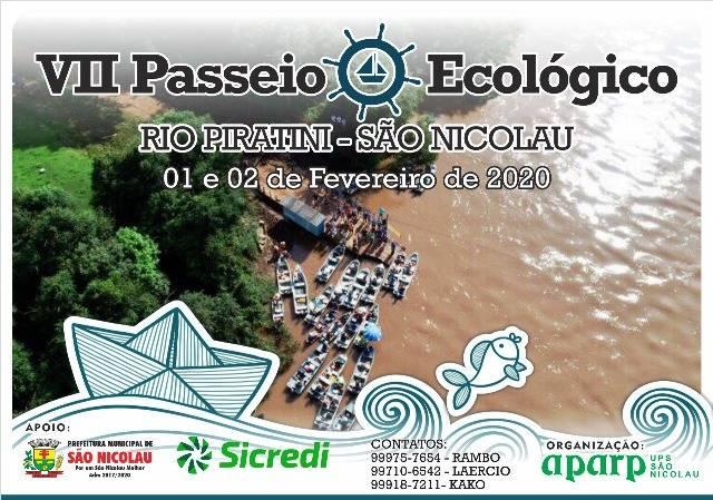 7º Passeio Ecológico no Rio Piratini acontece nos dias 1º e 2 de fevereiro