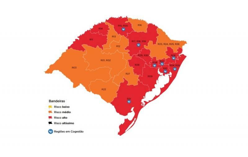 Mapa preliminar da 16ª rodada do Distanciamento Controlado tem 13 regiões vermelhas