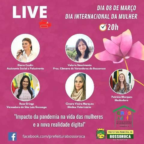 Live interativa no dia internacional da mulher em Bossoroca