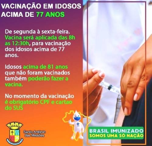 Santo Antônio das Missões inicia na segunda-feira a 4ª fase de vacinação contra a covid