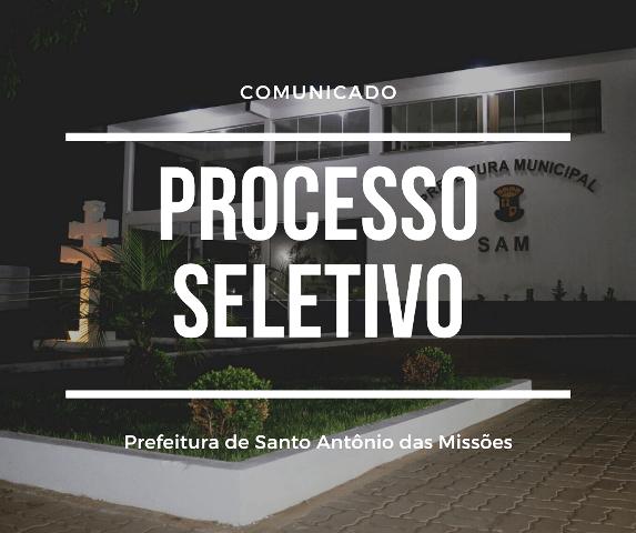 Prefeitura de Santo Antônio das Missões abre processo seletivo para contratação de profissionais