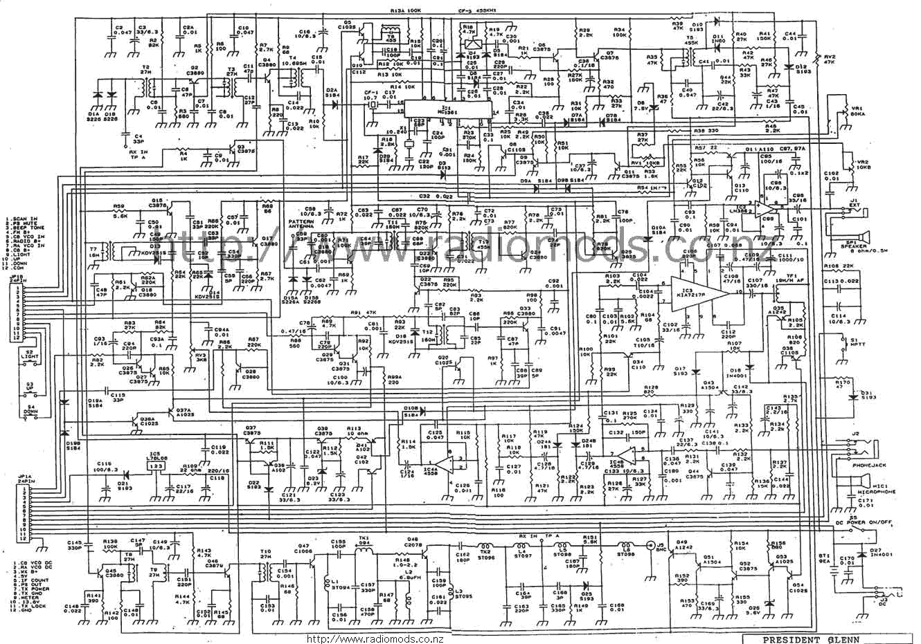 hight resolution of www radiomods co nz cbdiagrams presidentglenncd pn schematic diagram of printed circuit board diagram of circuit board