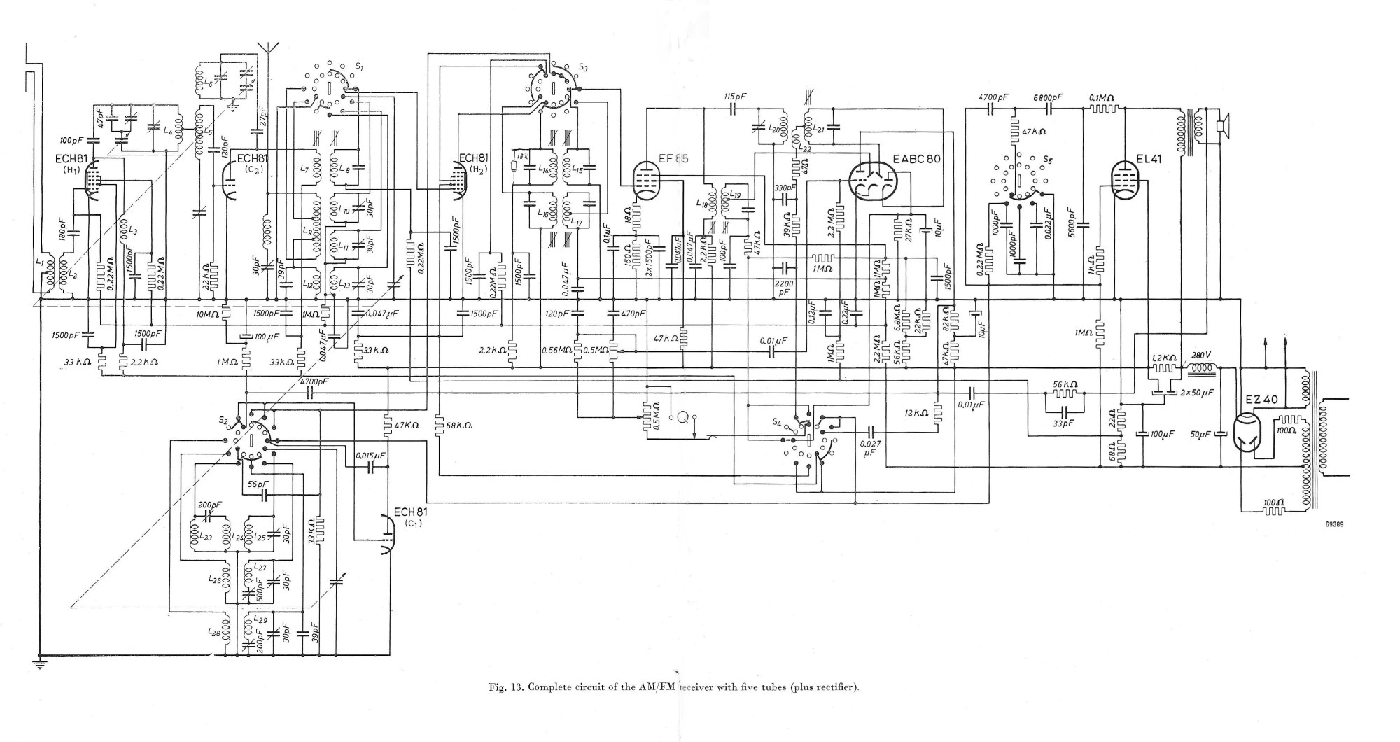 hight resolution of  philps reference design of an am fm receiver from eab 1951 no longer using the eq80 but the eabc80 valve this was the ultimate 5 valve plus an ez40