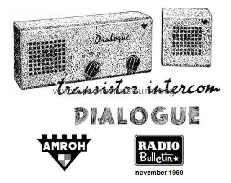 Dialogue Transistor Intercom Kit Amroh NV Radio Bulletin mon