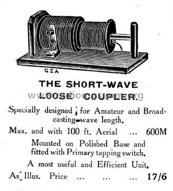 Short-Wave Loose Coupler mod-pre26 Aucklands Wireless,