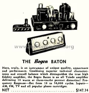 Baton Amplifier/Preamp/Remote Ampl/Mixer Bogen, David Co.,